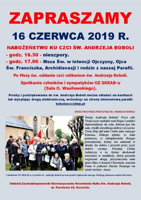 Członkowie OZ SKKAB-u i czciciele św. Andrzeja Boboli na uroczystości ogłoszenia patronem miasta Złocieńca.