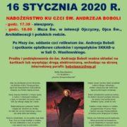 NABOŻEŃSTWO KU CZCI ŚW. ANDRZEJA BOBOLI - 16 STYCZNIA 2020 R.