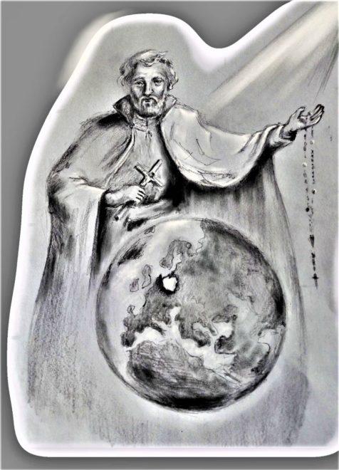 """Grafika pt.: """"Św. Andrzej Bobola czuwa nad światem"""" Autorka: Teresa Józefowicz"""