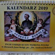 Kalendarz poświęcony prezentacji życia i dziejów kultu Św. Andrzeja Boboli ubogacone obrazami autorstwa Jana Molgi.