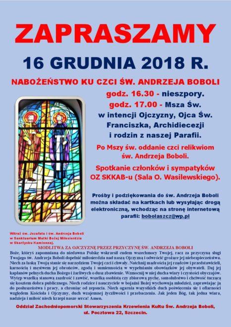 16 GRUDNIA 2018 R. NABOŻEŃSTWO KU CZCI ŚW. ANDRZEJA BOBOLI