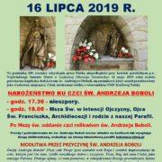 NABOŻEŃSTWO KU CZCI ŚW. ANDRZEJA BOBOLI - 16 LIPCA 2019 R.