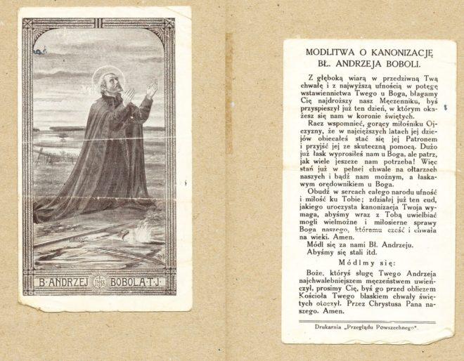 Obrazek i modlitwa o kanonizacje bł. Andrzeja Boboli
