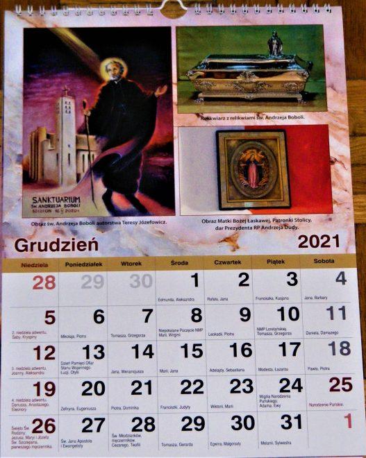 kalendarz ścienny na 2021 rok, wydany przez Oddział Stowarzyszenia Krzewienia Kultu Św. Andrzeja Boboli przy Sanktuarium Św. Andrzeja Boboli w Szczecinie