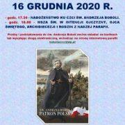 NABOŻEŃSTWO KU CZCI ŚW. ANDRZEJA BOBOLI - 16 GRUDNIA 2020 R.